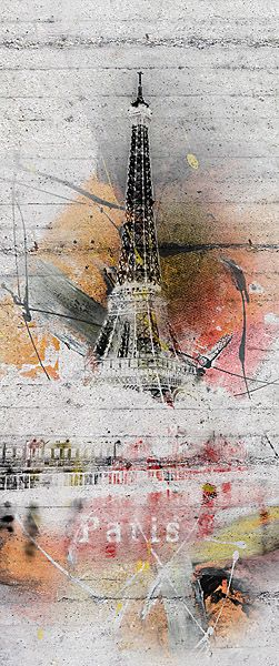 The Paris door mural makes a mod scenic on your door, featuring the beloved Eiffel Tower. Graffiti splashes and chic effects make this French mural a hip accent in a room.