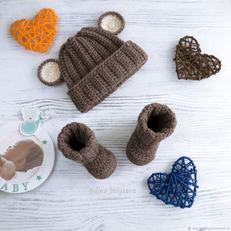 Buy hat and booties, Teddy bear hat for a boy, brown, beige on Livemaster online shop