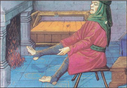 Late 15th century miniature of a French type strycsitten.   Missel de l 'abbaye de Montierneuf. Ms. Latin 873, F. 2 v. Bibiliotheque National, Paris, France. Medieval stirrup pants?