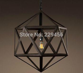 Американский стиль творческий ромб птичья клетка подвесной светильник чердак старинные промышленного лампы кафе ресторан E27 110 - 240 В