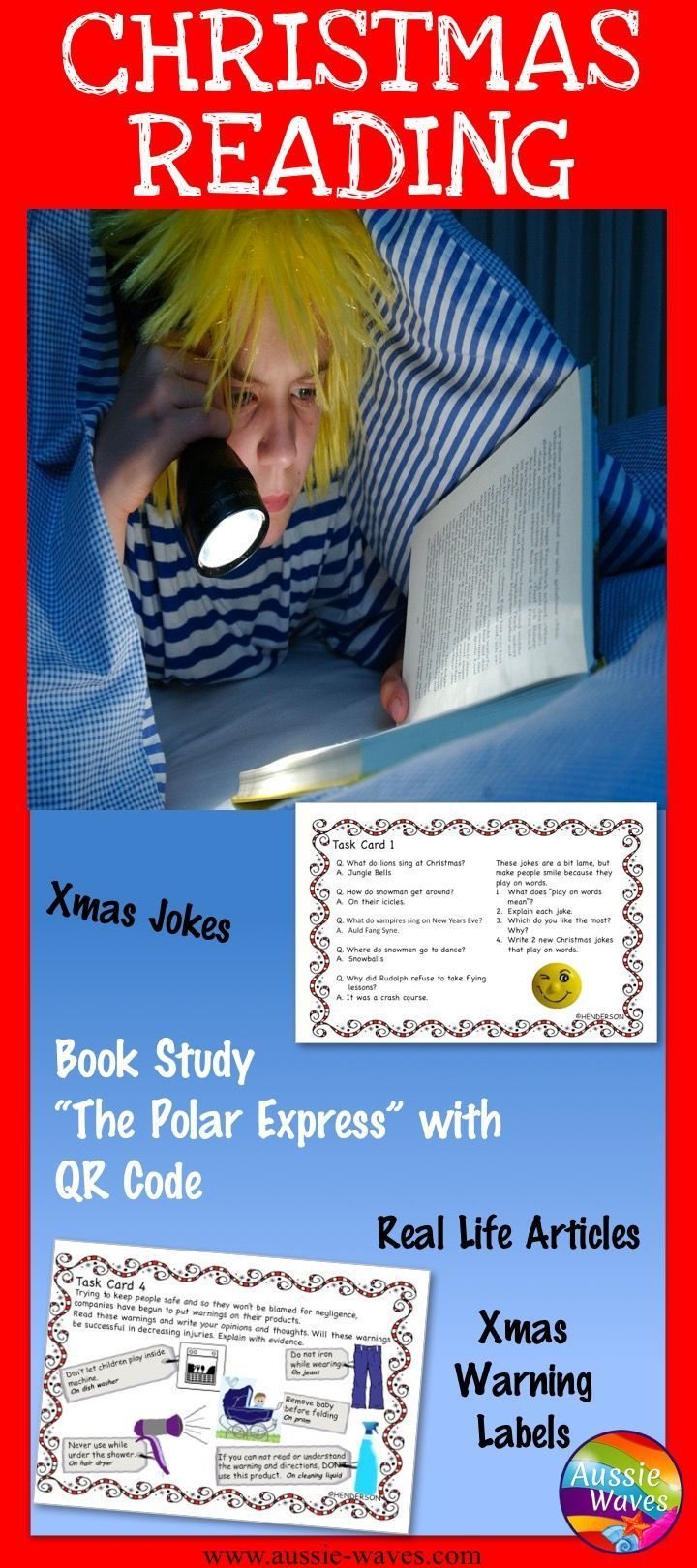 Christmas reading resources. Keep kids reading this holiday season with the Polar Express and other fun jokes, recipes and tasks.