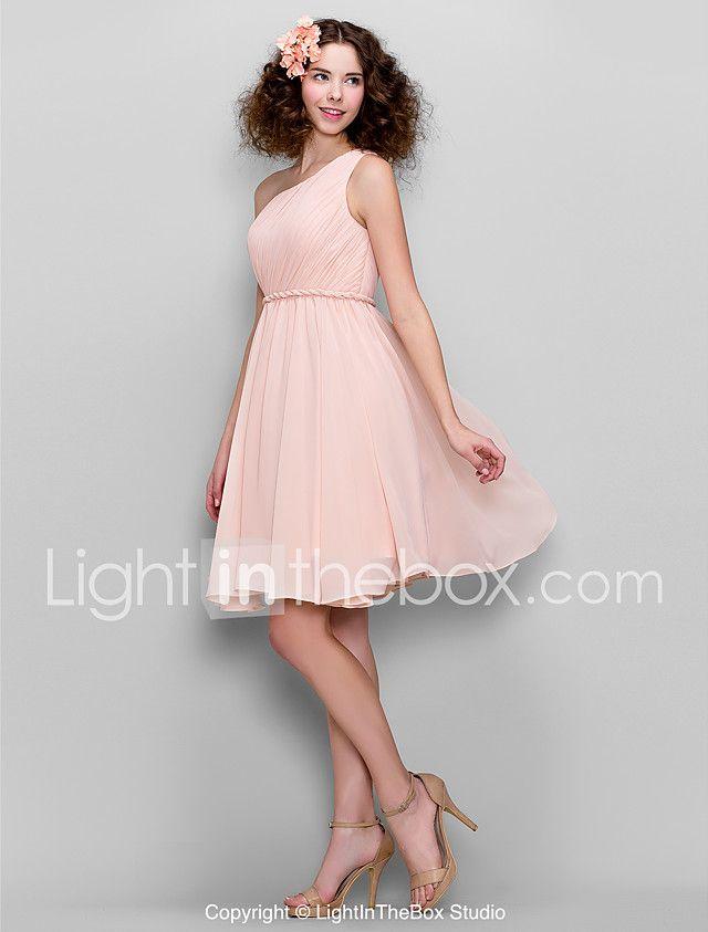 Lanting Bride® Knie-Länge Chiffon Brautjungfernkleid - A-Linie Ein/Schulter Übergröße / Zierlich mit Seitlich drapiert 2017 - €77.59