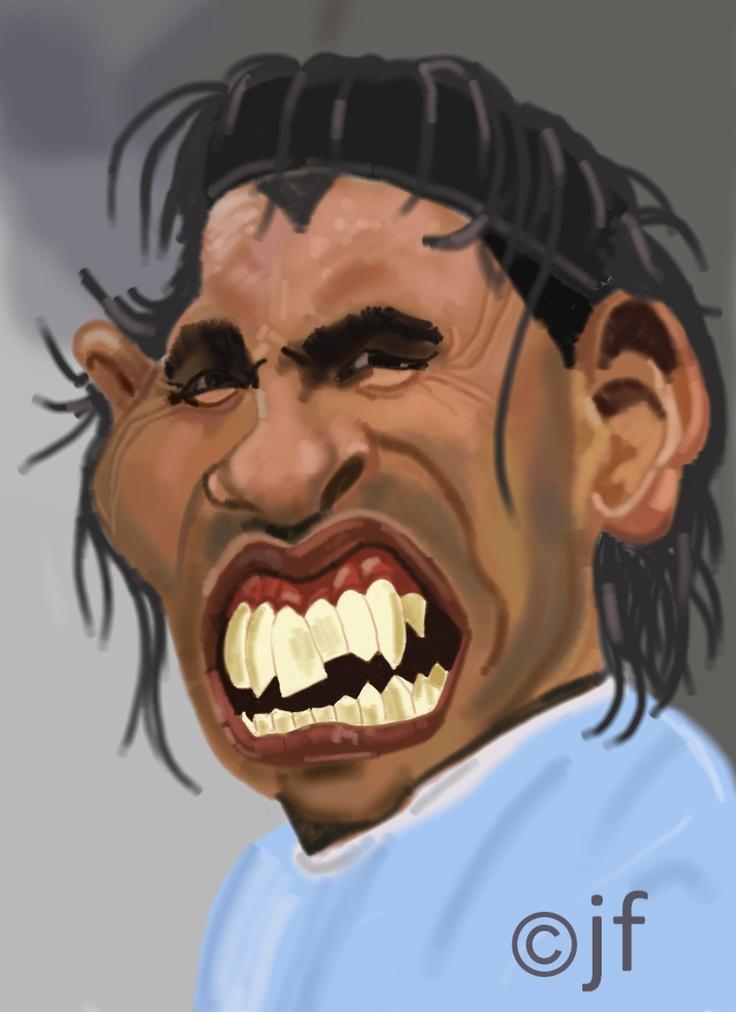 Carlos Tevez, Argentinian footballer illustrated by CARTOONMAN'S BLOG.