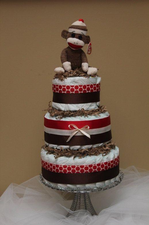 Sock Monkey Diaper Cake. $65.00, via Etsy.