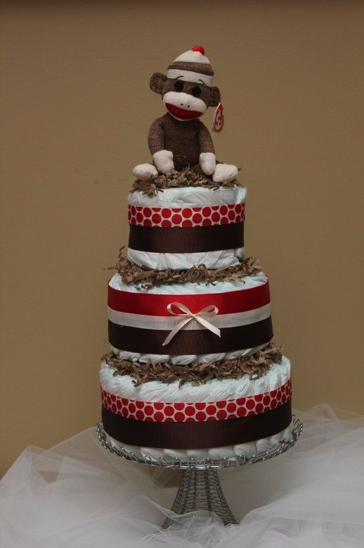 Sock Monkey Diaper Cake by BBLittleThings on Etsy, $65.00