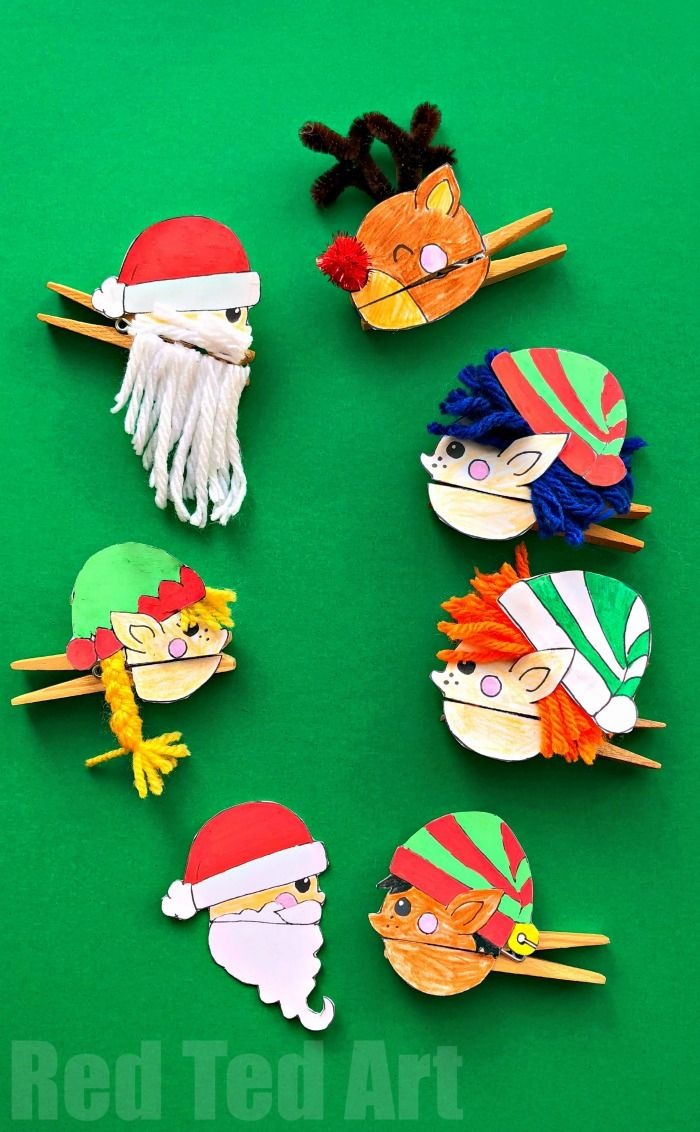Oh my, how FUN FUN FUN are these Easy Christmas Clothespin Puppets DIY complete with printables? Super fun Santa, Elf and Reindeer Clothespin Craft