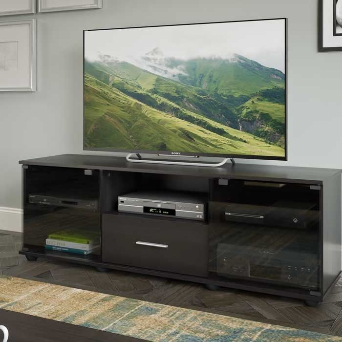 corliving fernbrook media tv stand black faux wood grain display your sitting or mounted tv with the corliving fernbrook media tv stand black faux