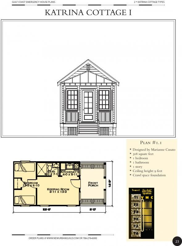 Attractive Katrina Home Kits #8: Original 308 Sq Ft Katrina Cottage Designed By Marianne Cusato