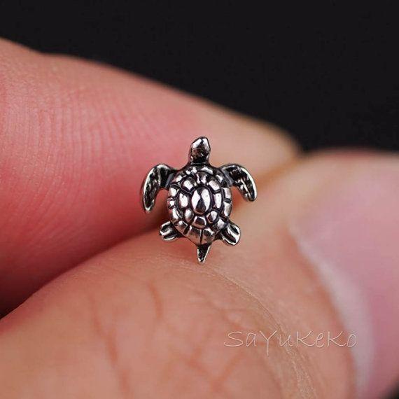 kraakbeen oorbel 16g kraakbeen piercing mini schildpad door sayukeko
