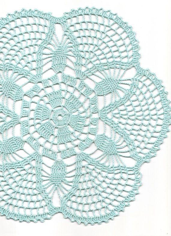 Crochet doily, lace doily, table decoration, crocheted place mat, center piece,doily tablecloth, table runner, napkin, aqua, blue via Etsy