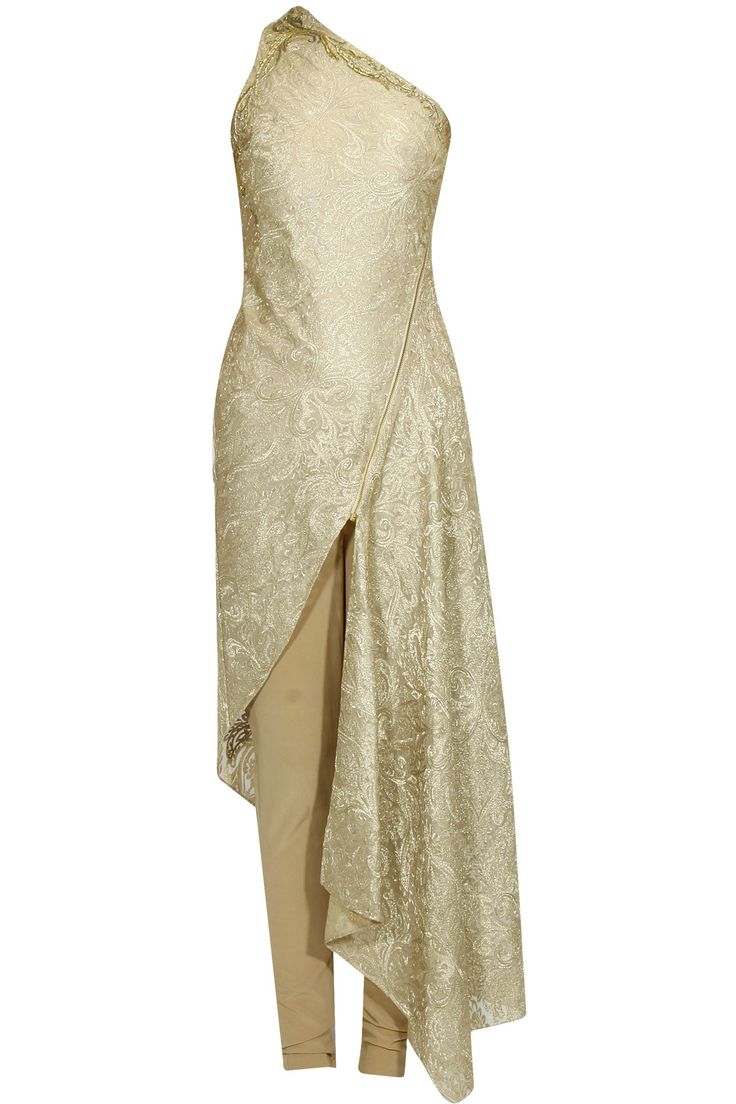 Gold floral bugal beaded asymmetric one shoulder kurta set available only at Pernia's Pop Up Shop.
