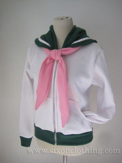 Sailor Moon, Sailor Jupiter, Seifuku, Hoodie, Clothing, Zipper, Hooded Jacket, Green, Pink, Sugar Pink, Light Pink, White