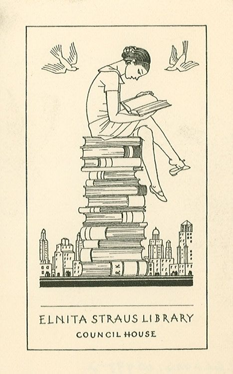 Bookplate by Rockwell Kent for Elnita Straus Library, 1936