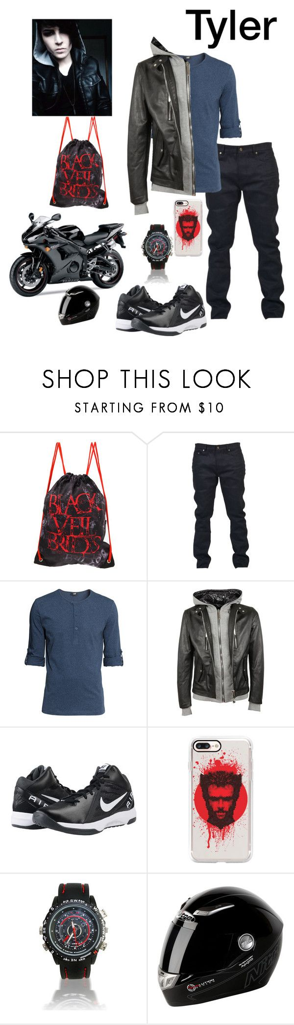"""""""Tyler"""" by ironkyle ❤ liked on Polyvore featuring Yves Saint Laurent, H&M, Philipp Plein, NIKE, Casetify, Yamaha and All Black"""
