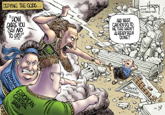 Editorial cartoon World Greece Economy