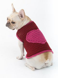 Crochet dog sweater...small to XL sizes... Free pattern! Even my dog deserves a special Valentine heart!!