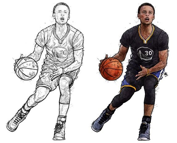 Stephen Curry Keep It Moving Illustration Nba Stephen Curry