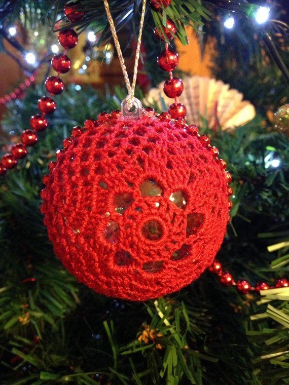 Handmade crochet Christmas ball 6cm Christmas by fiocchidicotone01