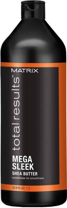 Matrix Total Results Mega Sleek Conditioner for smoothness. Helps control rebellious, unruly hair and manages frizz against humidity for smoothness.