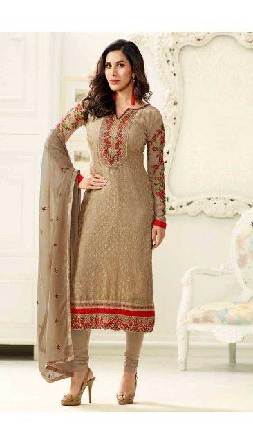 Bollywood Sophie Choudry Beige Brasso Churidar - DMV14837