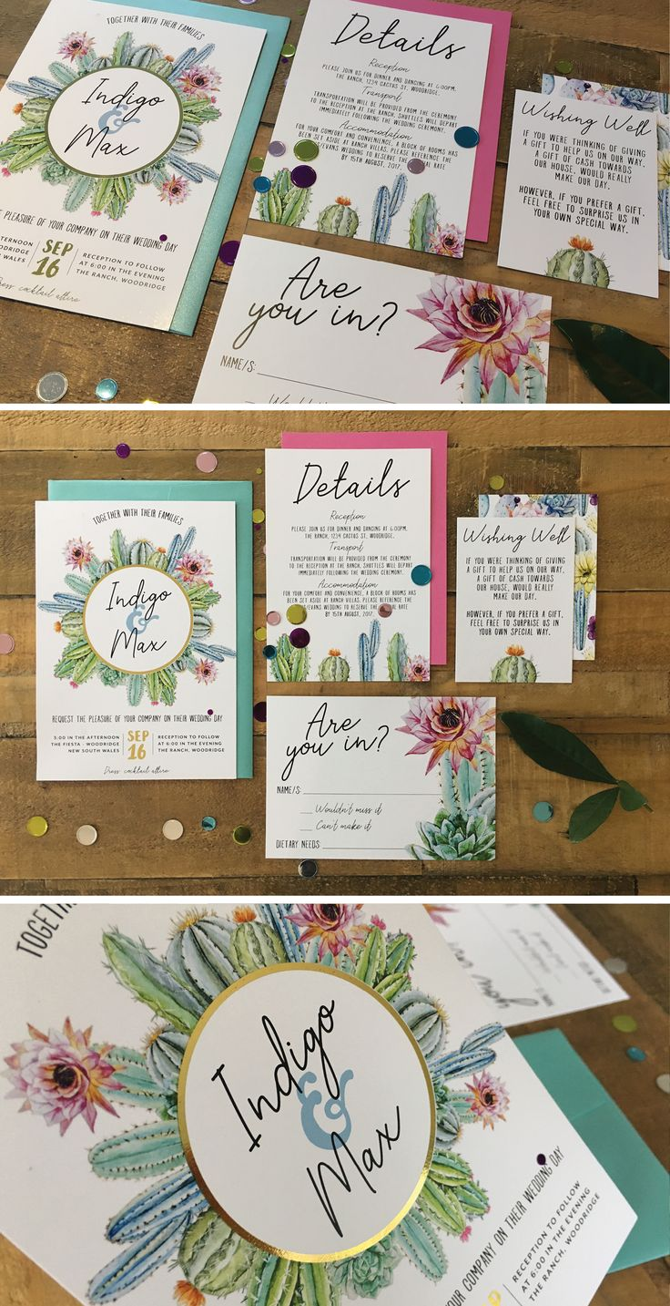 DESERT CACTUS PASTEL WEDDING INVITATION WITH GOLD FOIL by Frankie Bear Designs. This festive cactus wedding invitation features a wreath of beautiful pastel watercolour / watercolor cacti and desert flowers. Perfect for a fiesta themed wedding!