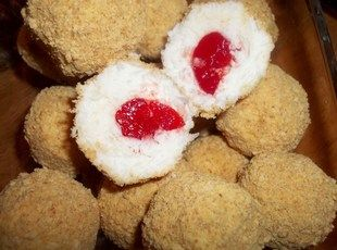 Coconut Cherry Balls - i think i would dip them in chocolate instead