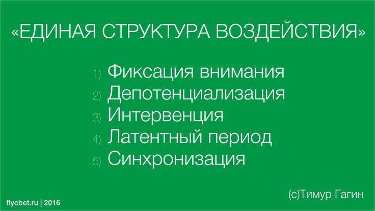 Единая структура воздействия  1) Фиксация внимания 2) Депотенциализация  3) Интервенция  4) Латентный период 5) Синхронизация  Тимур Гагин