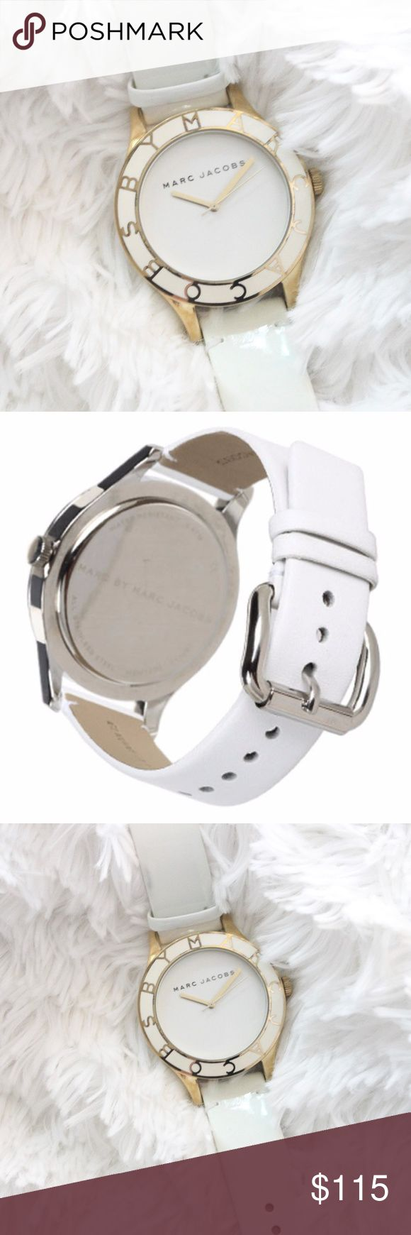 """Marc Jacobs Blade White Patent Leather Logo Watch In excellent gently used condition!   """"This Blade Mini Gold White Patent Watch is both simple and sophisticated. The patent leather white strap really pops against the gold accents. The case measures 26 mm with a thickness of 9 mm. The band is 11..9 mm wide closes with an adjustable buckle closure. This watch is water resistant to 5 ATM. The logo top ring is etched with gold-toned etching and backed with a stainless steel back.   Patent…"""