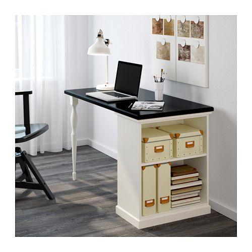 KLIMPEN / NIPEN Secretária c/arrumação - preto/branco - IKEA