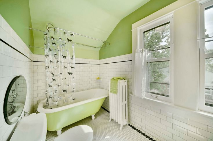 Classic Lime Bathroom Punchy pastels jazz up the look of a traditional bathroom
