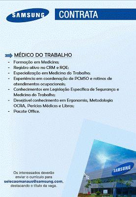 RH Manaus - Agência de Divulgação: Médico do Trabalho