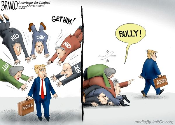 Although the media keeps attacking President Trump with fake news, he marches forward with his agenda. Political Cartoon by A.F. Branco ©2017