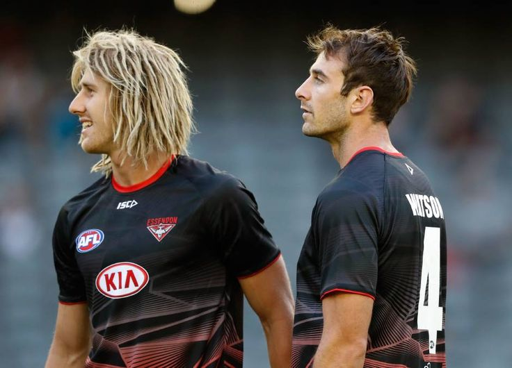 BOMBS AWAY: Essendon captain Dyson Heppell and former skipper Jobe Watson will be in action in Bendigo on Sunday. Picture: GETTY IMAGES