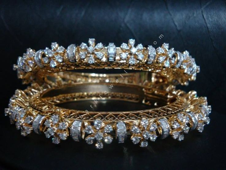 Maharani's Choice Diamond Bangles: Captivating 14kt gold bangles surrounded by 16.20cts of diamonds, which are a must have for any modern day Maharani-Princess.