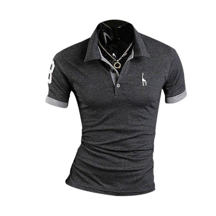 Los hombres de moda camisa de polo ocasional delgado fittness bordado verano de manga corta camiseta más el tamaño m-xxxl
