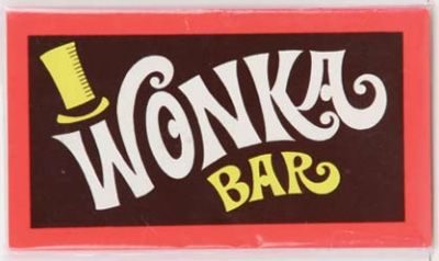 I wanted to use Wonka Bars with the golden tickets but they're way too expensive. I am thinking about hershey bars or Kit Kats with the paper wrapper removed and adding this Wonka wrapper.