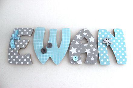 """Lettres en bois de 7,5 cm de hauteur et 6 mm d'épaisseur personnalisées au prénom de votre enfant. Thème """"Blue Star""""  => Attention le prix indiqué est pour une seule lett - 7974187"""