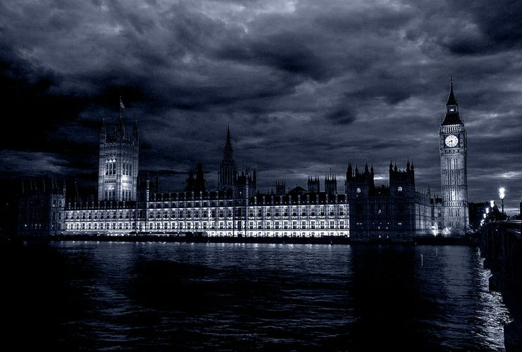 Blank and white parliament, London, Westminster.