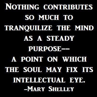 Nothing contributes so much to tranquilize the #mind as a steady purpose--  a point on which the soul may fix its intellectual eye.  -Mary Shelley