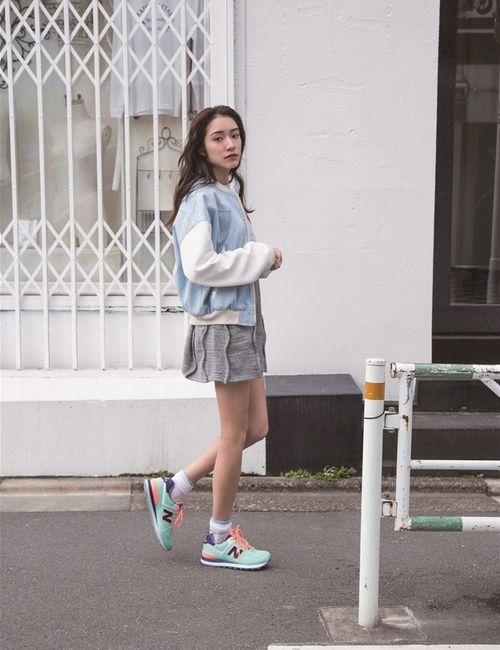 Sayo Yoshida (吉田 沙世) Pale blue letterman jacket, grey skirt and mint new  balances taking a breather. Pastel outfit + sneakers New Balance