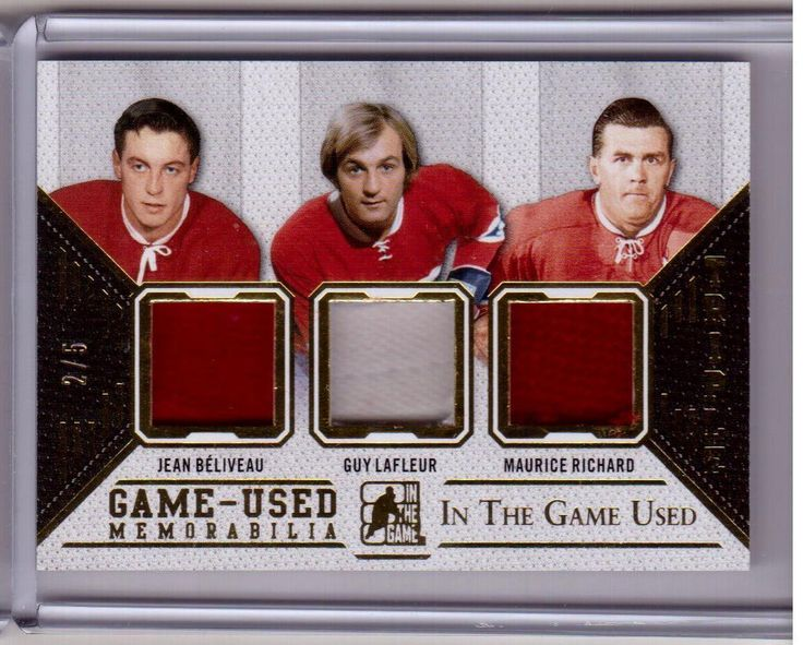 JEAN BELIVEAU GUY LAFLEUR MAURICE RICHARD 14/15 Leaf In The Game Used Patch #2/5 | eBay