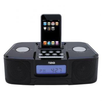 Naxa NI-3103 Digital Alarm Clock Radio with Dock for iPod- Black - myaccessoryguy