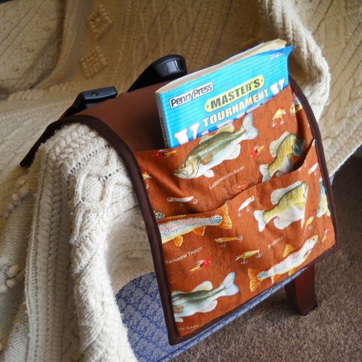 Fish Armchair Caddy, Remote Control Organizer, SALE by threadsofmagique on Etsy