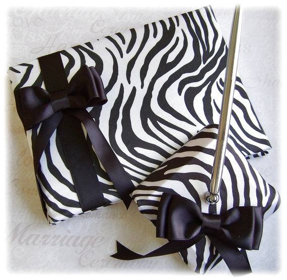Zebra Wedding Guest Book Pen Set,  Black White Zebra Wedding Accessories, Animal Print Wedding Accessories $55