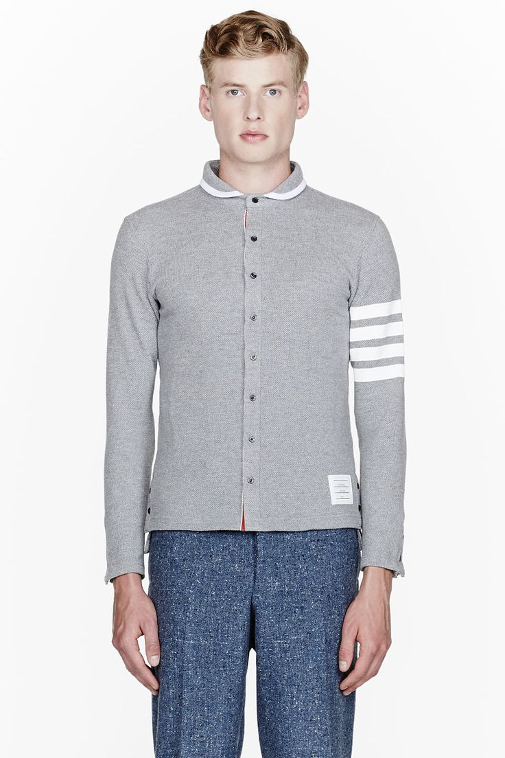 THOM BROWNE Grey Waffle Texture Striped-Sleeve Collared Cardigan