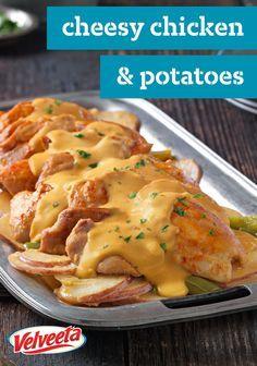 Slow-Cooker Cheesy Chicken & Potatoes – While you're out and about, these chicken thighs and cheesy potatoes, featuring VELVEETA, will be simmering away, getting more tender and flavorful in the slow cooker.