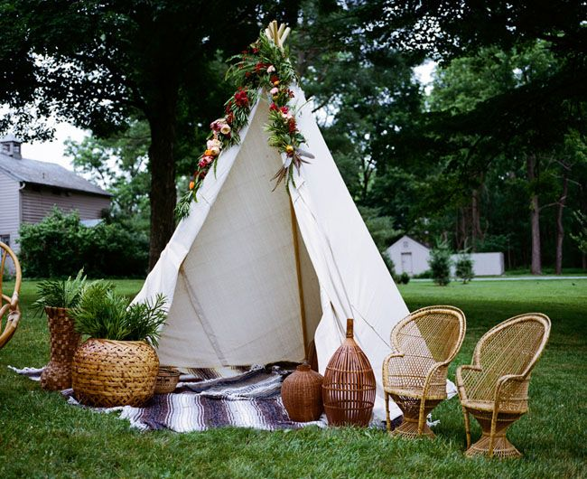 Your guest will fall in love with your Boho Teepee decor during your wedding reception.