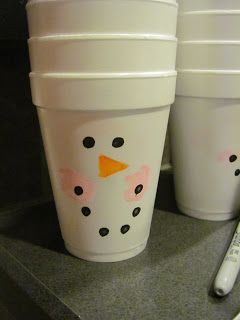 """snowman hot cocoa cups  The Life of Barrett and Tanya and their 2 Little Munchkins: Jack's """"Winter ONEderland"""" 1st Birthday Party"""