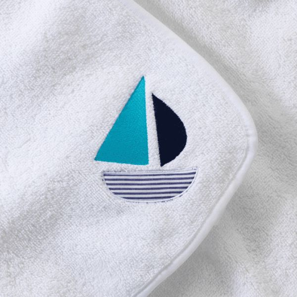 Cape de bain bébé bateau - Cape de bain bébé - Sortie de bain enfant - Cape de bain enfant - Chaussons bébé cuir souple originaux- Tichoups