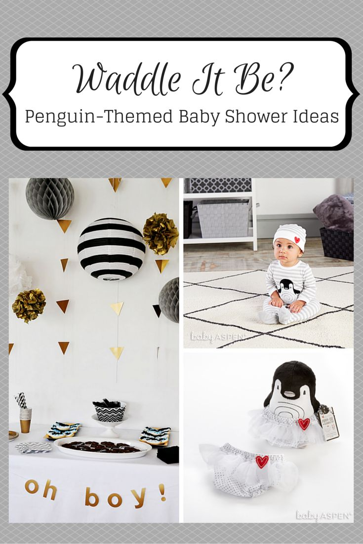 Penguin-themed baby shower ideas with a modern black and white palette